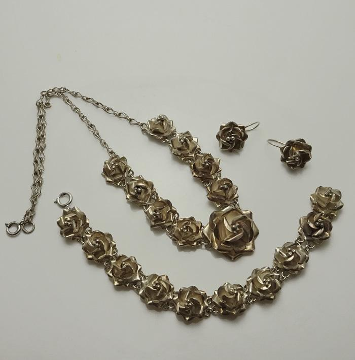 Mexican Sterling Silver Rose Necklace Bracelet Earrings Set Parure JUST REDUCED!