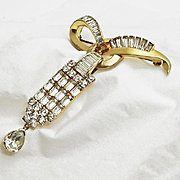 Vintage Mazer  Rhinestone Baguette Pin Pendant JUST REDUCED!