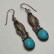 Long Vintage Native American Indian Sterling Silver Turquoise Drop  Earrings