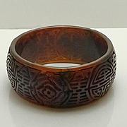 Wide Vintage Brown Asian Theme Flower Carved Bakelite Bangle Bracelet