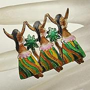 Sterling Silver Enamel Hawaiian Dancer Pin