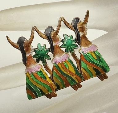 Sterling Silver Enamel Hawaiian Dancer Pin