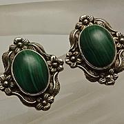 Carol Felley Sterling Silver Malachite Floral Earrings 1988