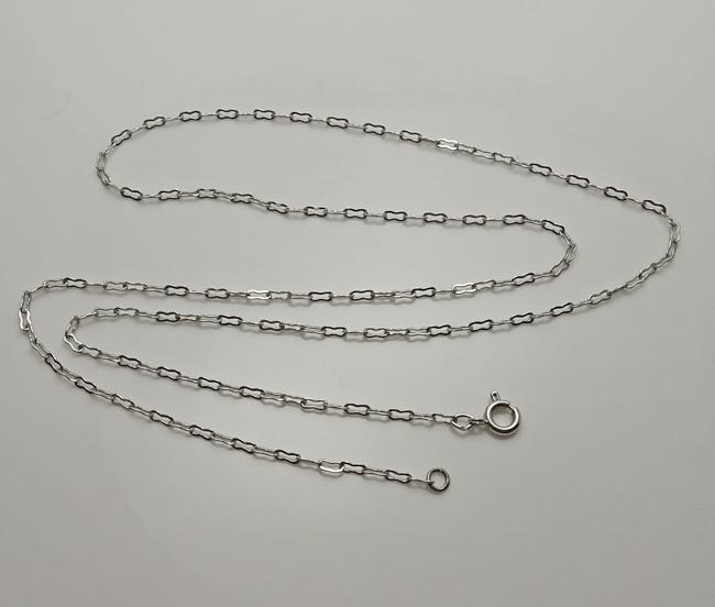 Vintage Art Deco Rhodium Necklace Paper Clip Chain Long