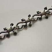 Vintage Sterling Silver Lizard Link Bracelet
