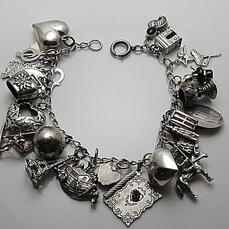 Vintage Charm Bracelet Sterling Silver Charm Loaded