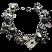 Vintage Charm Bracelet Sterling Silver Charm Loaded