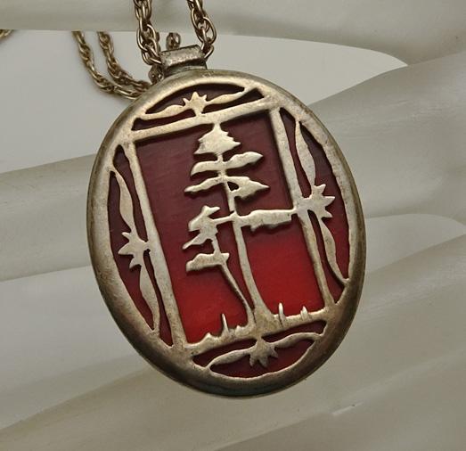 Unique Vintage Sterling Silver Tree Pendant Artisan Necklace