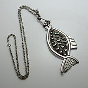 Huge Vintage Mexican Taxco Sterling Silver Moving Fish Necklace