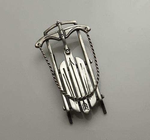 Vintage  Breakell Sterling Silver Christmas Snow Sled Pendant