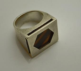 Chunky Modernist Sterling Silver Tiger's Eye Ring