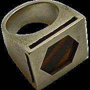 Chunky Modernist Sterling Silver Tiger's Eye Ring