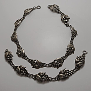 Antique Art Nouveau Sterling Silver Grape Necklace Bracelet Set