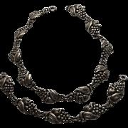 Antique Art Nouveau Sterling Silver Grape Necklace Bracelet Set