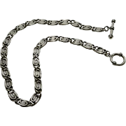 Chunky Sterling Silver S Link Toggle Necklace