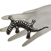 HUGE Vintage Sterling Silver Lizard Pin Brooch