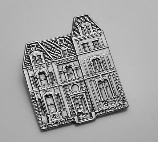 Vintage Victorian House Sterling Silver Pin M.F.A.