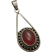 Vintage Etruscan Carnelian Sterling Silver Pendant