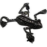 Vintage Sterling Silver Marcasite Onyx Frog Pin Cute !