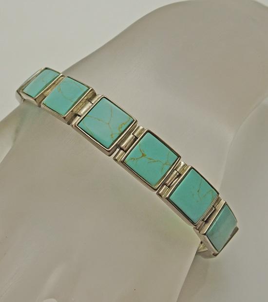 Sterling Silver Turquoise Link Bracelet