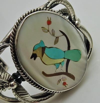Beautiful Vintage Navajo Irene Manuelito Inlaid Stone Turquoise Bird Cuff Bracelet
