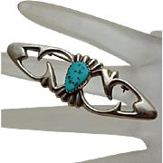 Long Vintage Native American Indian Turquoise Sterling Silver Pin