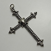Vintage Etruscan Sterling Silver Cross Pendant