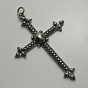 Vintage Etruscan Sterling Silver Cross Pendant