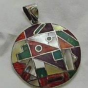 Vintage  Modernist Colorful Mosaic High Grade Sterling Silver Stone Pendant