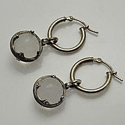 Vintage Sterling Silver 925 Pools of Light Rock Crystal Drop Earrings Undrilled