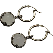 Vintage Sterling Silver 925 Pools of Light Rock Crystal Drop Earrings Undrilled