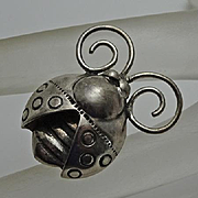 Vintage Sterling Silver Bug Insect Pin  Cute!