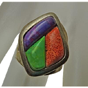 Signed DTR Jay King Sterling Silver Coral  Stone Ring Chunky Size 10 and 1/2