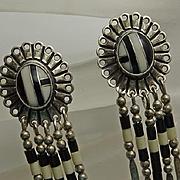 Long Vintage Indian Stone Inlay Drop Earrings