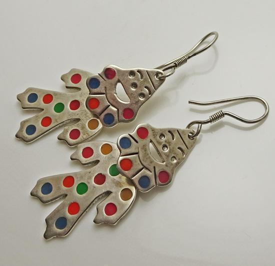 Mexican Sterling Silver Enamel Clown Earrings Fun!