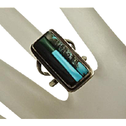 Vintage Zuni  Indian Turquoise Mosaic Inlay Stone Sterling Silver Ring