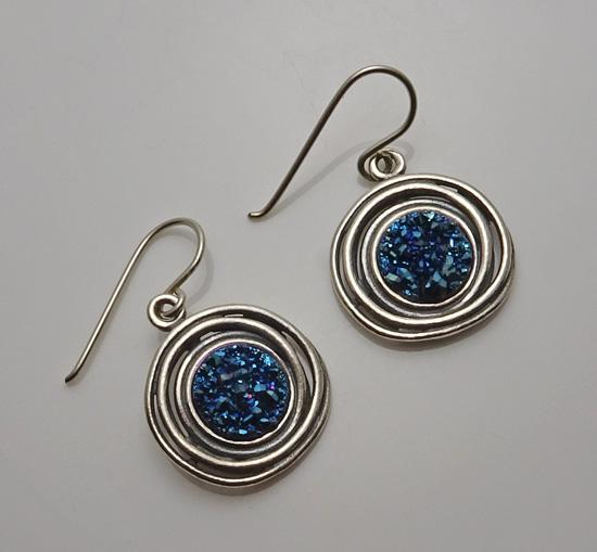 Sterling Silver Modernist Or Paz Blue Druzy Israel Earrings