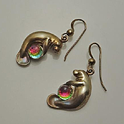 Colorful Sterling Silver Manatee Earrings Figural Sea Creature