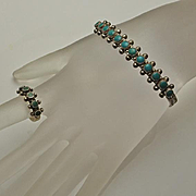 Vintage Native American  Sterling Silver Turquoise Cuff Bracelet Ring Set Mid Century