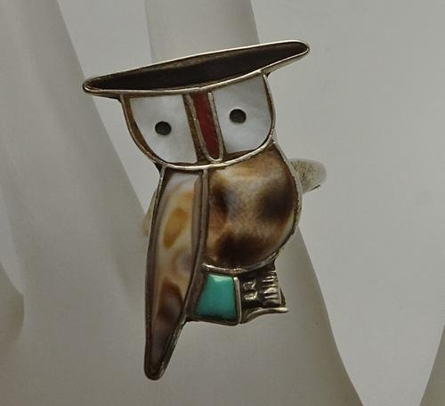 Vintage Sterling Silver Owl Inlay Turquoise Coral Ring Native American Indian