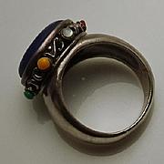 Vintage Sterling Silver Lapis Gemstone Ring