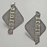 Modernist Pearce Sterling Silver Earrings