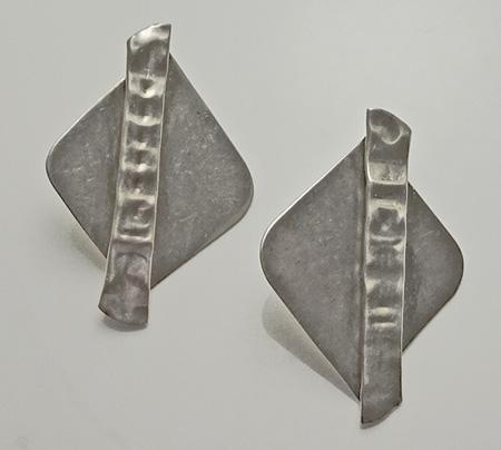 Modernist Pearce Sterling Silver Earrings