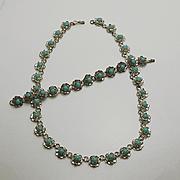 Vintage Mexican Flower  Sterling Silver Necklace Bracelet Set
