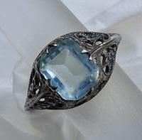 Vintage Filigree Ring Art Deco Sterling Silver