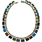 Mexican Sterling Silver Cleopatra Style Gemstone Necklace