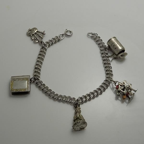 Vintage Sterling Silver Charm Bracelet with Interesting Moving Charms