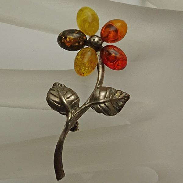 Vintage Polish Amber Sterling Silver Flower Pin