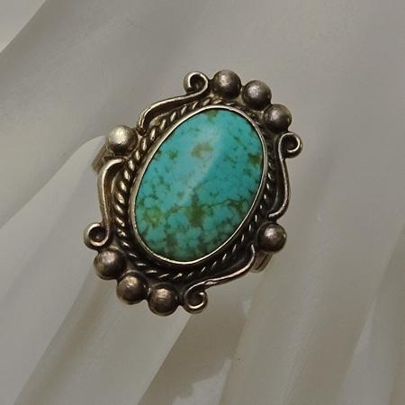 Vintage Bell Trading Indian Sterling Silver Turquoise Ring