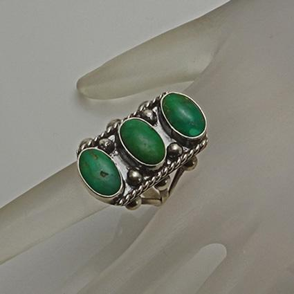 Vintage Indian Long Face Green Stone Sterling Silver Ring